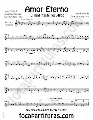 Tubescore Etern Love by Juan Gabriel sheet music for Trumpet and Flugelhorn Rocio Durcal Bolero music score