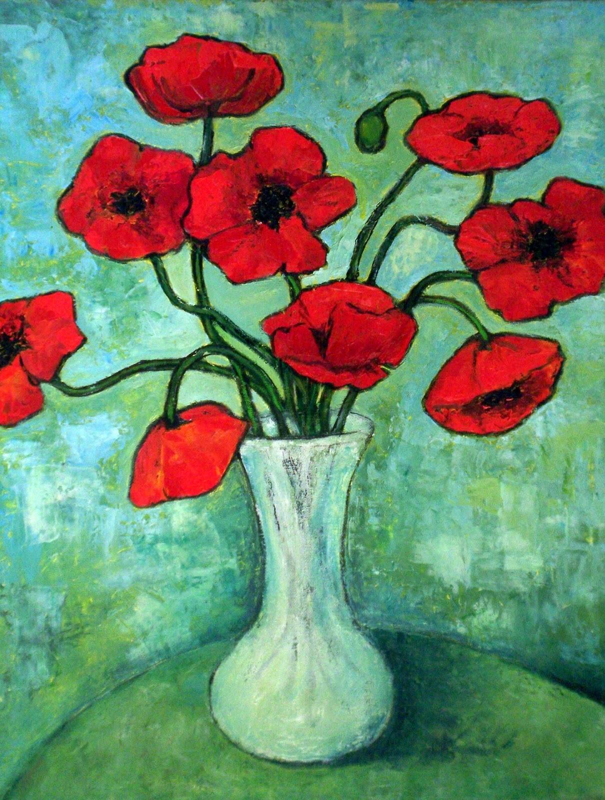 Poppy Flowers By Vincent Van Gogh Lonequixote Vase With