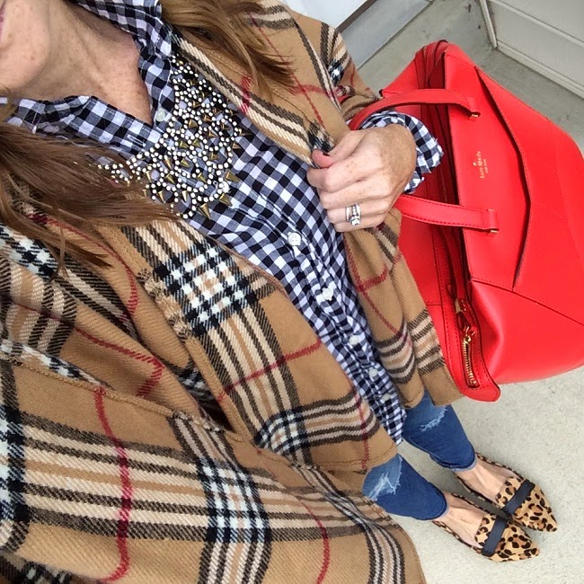 plaid blanket scarf, jcrew factory plaid shirt, baublebar necklace, AG jeans, Steve Madden flats, kate spade bag