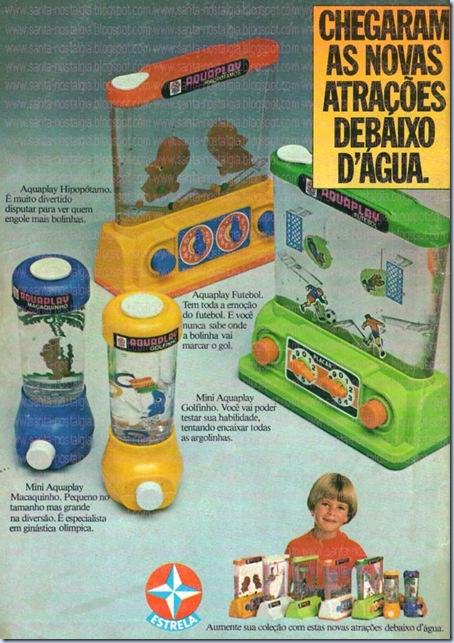 Brinquedo Aquaplay da Estrela. Sucesso nos anos 80. Propaganda veiculada nos gibis daquela época.