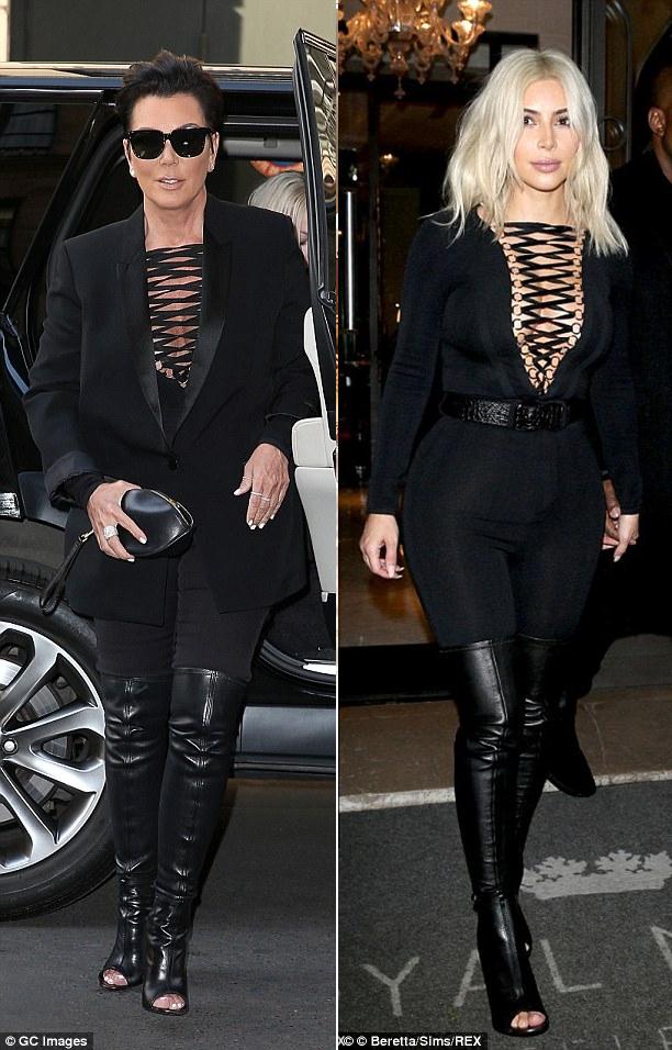 kim kardashian kris jenner same outfit