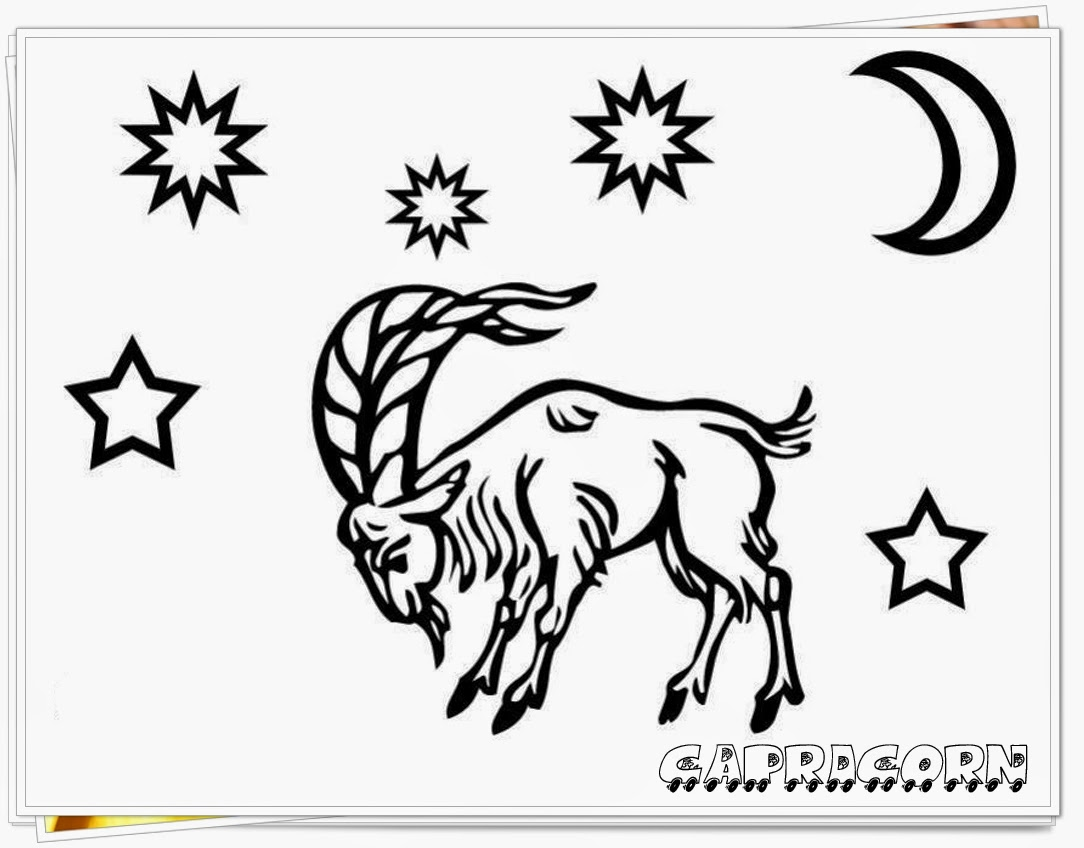 Zodiac coloring pages printable realistic coloring pages for Capricorn coloring pages