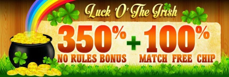 350% Casino No Rules + 100% Free Chip Bonus