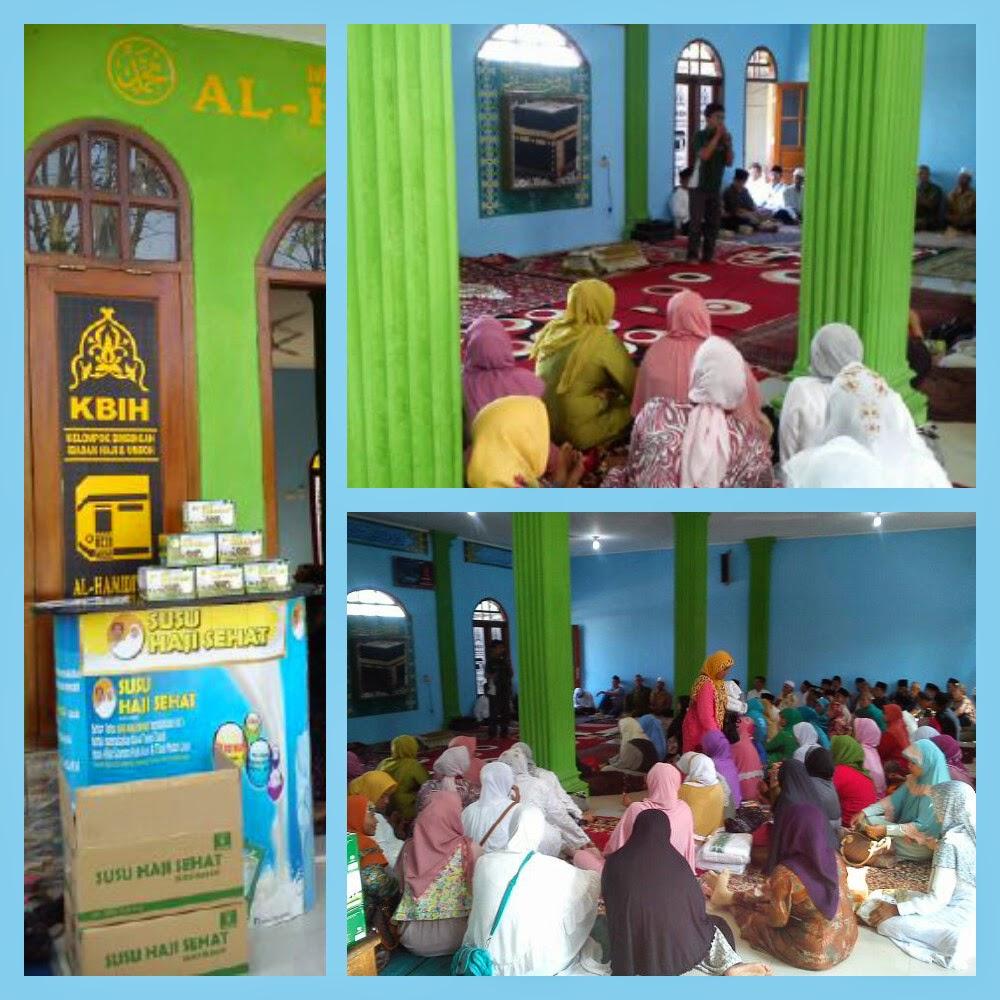 Edukasi kesehatan kepada calon jama'ah Haji KBIH Al-Hamidiah Cikarang bersama  Gema Hati danSusu Haji Sehat