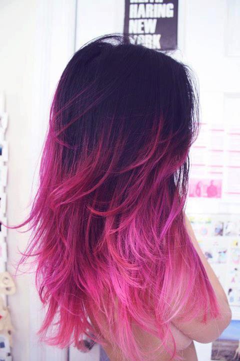Dunkelbraune Haare Mit Pinken Spitzen