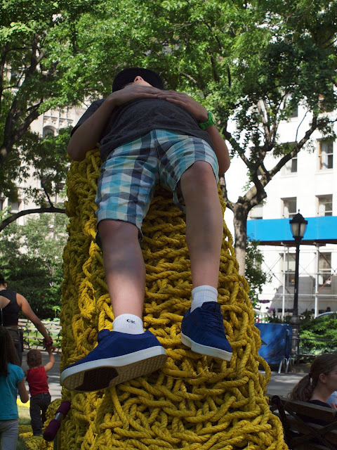 Red, Yellow, Blue, a site-specific installation by Orly Genger, Madison Square Park, NYC