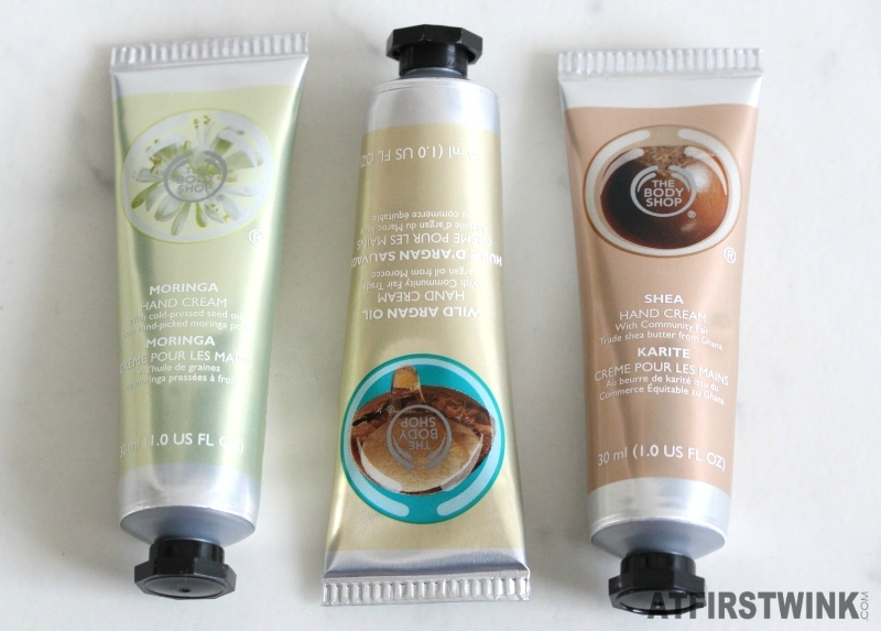 The Body Shop hand creams moringa wild argan oil shea