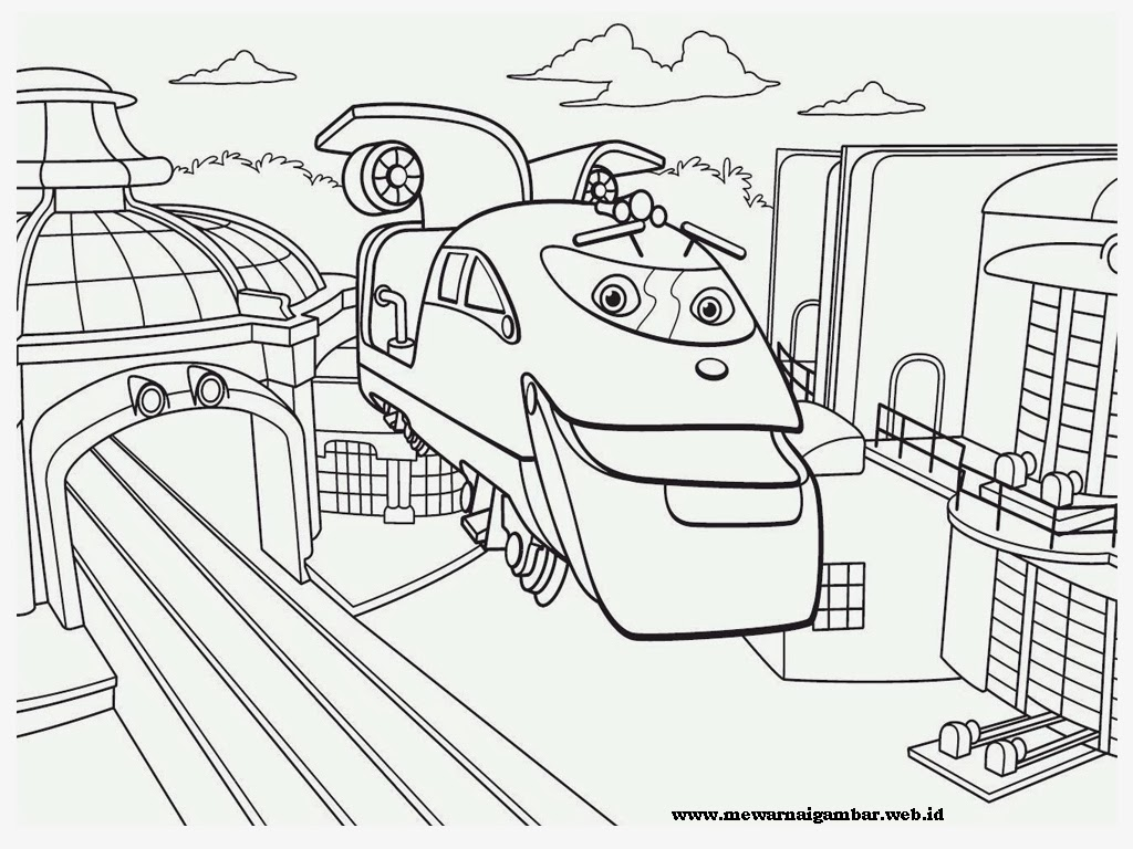 mewarnai gambar stasiun kereta chuggington