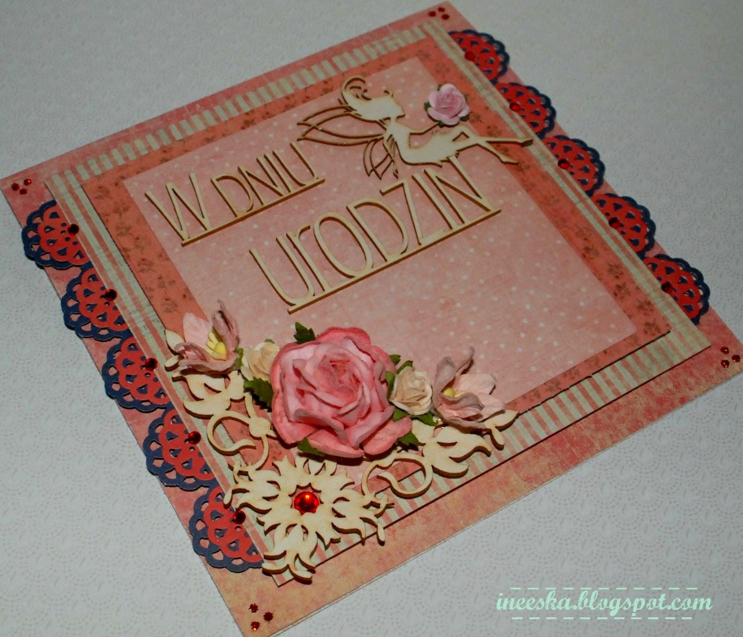 Kartka urodziny, pastele, różowa wróżka