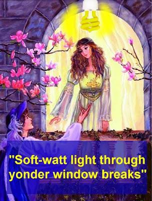 Soft-watt light through yonder window breaks