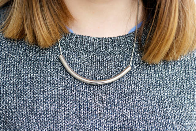 silver simplistic statement necklace
