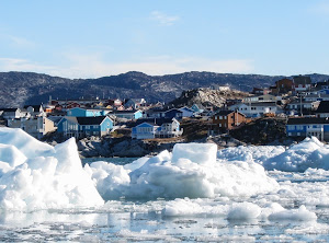 Houses on the hill, Illulisat, Disko Bay, Greenland