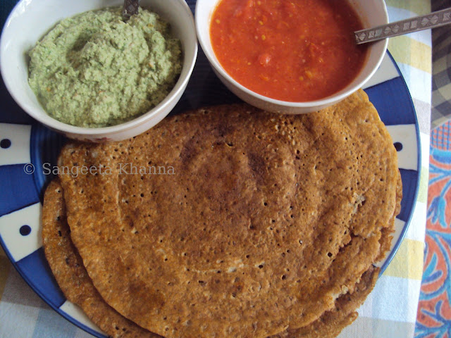 101 gluten free breakfasts | multigrain dosa with two healthy chutneys | amla peanut chutney and tomato garlic chutney