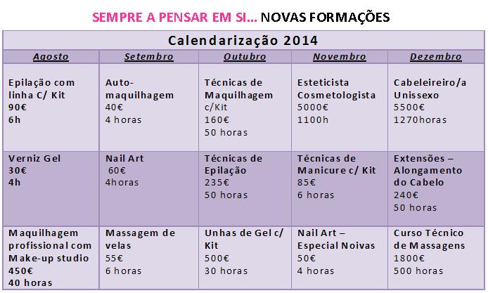 Cursos de cabeleireiro, maquilhagem, estética, unhas de gel e massagem – Leiria (2014)