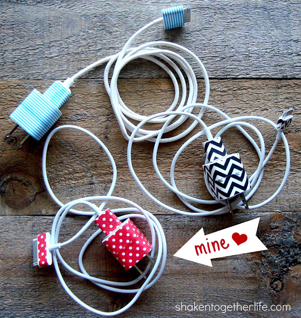 Organizing Phone Chargers with Washi Tape