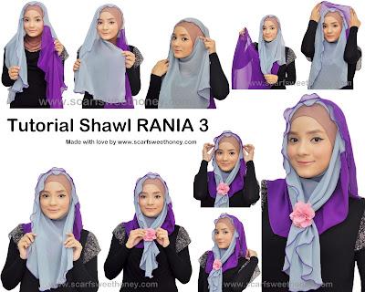 Cara Memakai Jilbab Shawl Rania 2