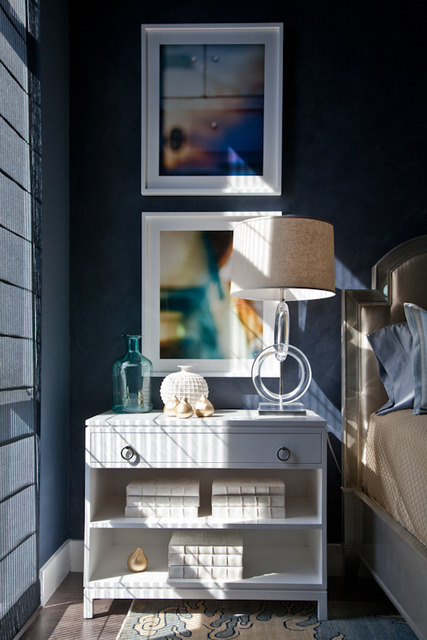 A touch of Luxe: Bedroom in hues of blue and cream...