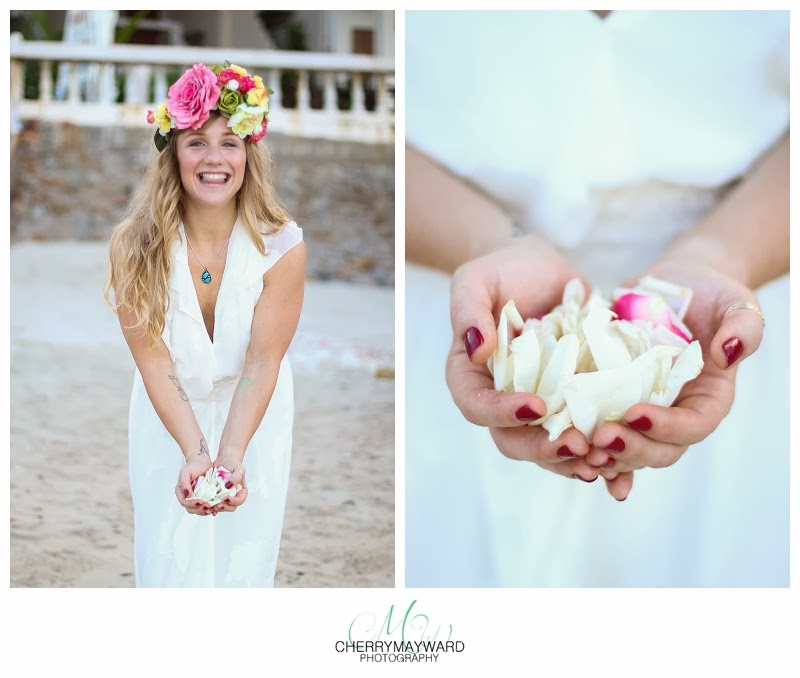 Wedding photographer in Thailand, Koh Samui wedding photographs, beautiful bride, Thailand bride, excited bride, happy bride,  colourful details, pink and white wedding details,