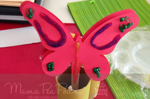 red butterfly puppet for young children to make