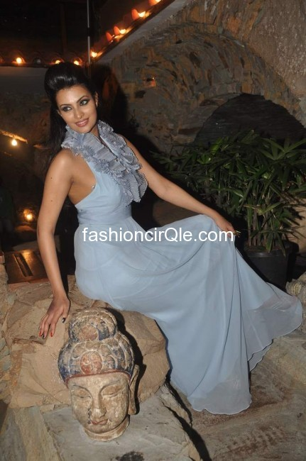 Sayali bhagat wears a beautiful ice blue floor length dress with some ruffles around the neck -  Sayali Bhagat's photoshoot for Dhobi Ghat