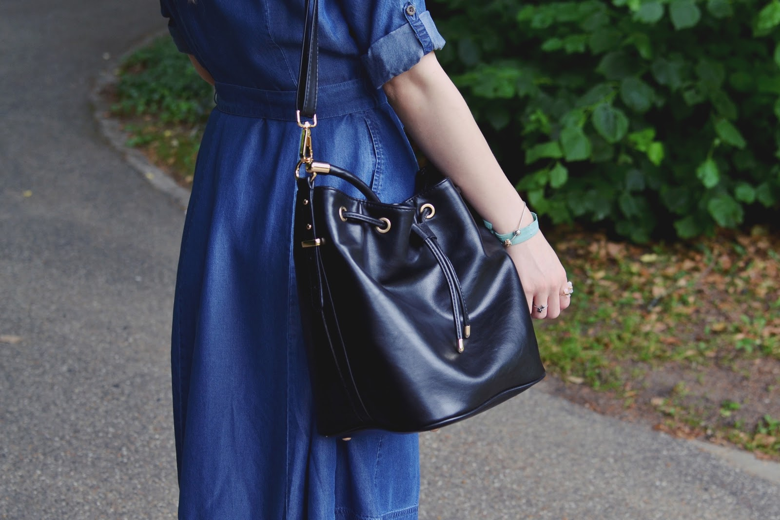 Marks & Spencers black bucket bag