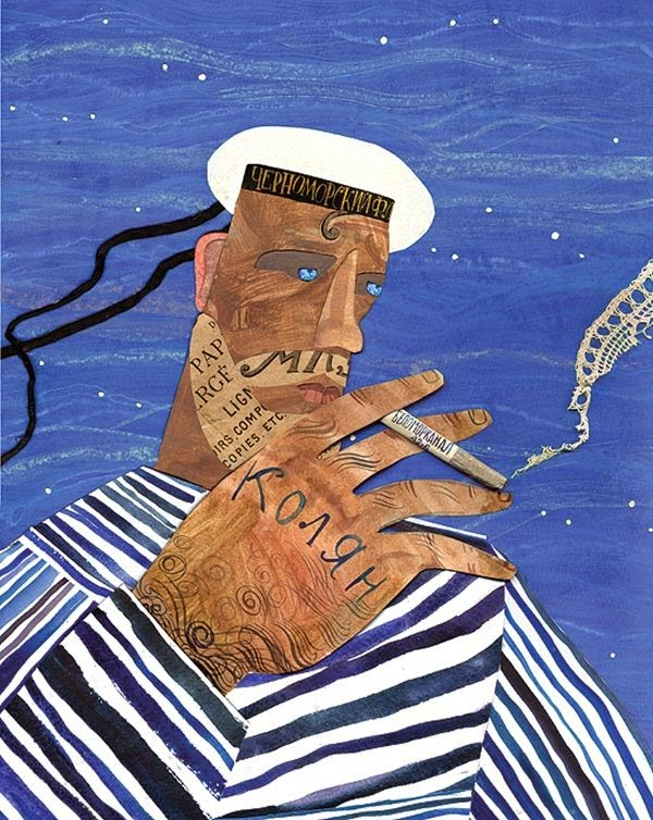 collage illustration by Victoria Semykina of a smoking sailor