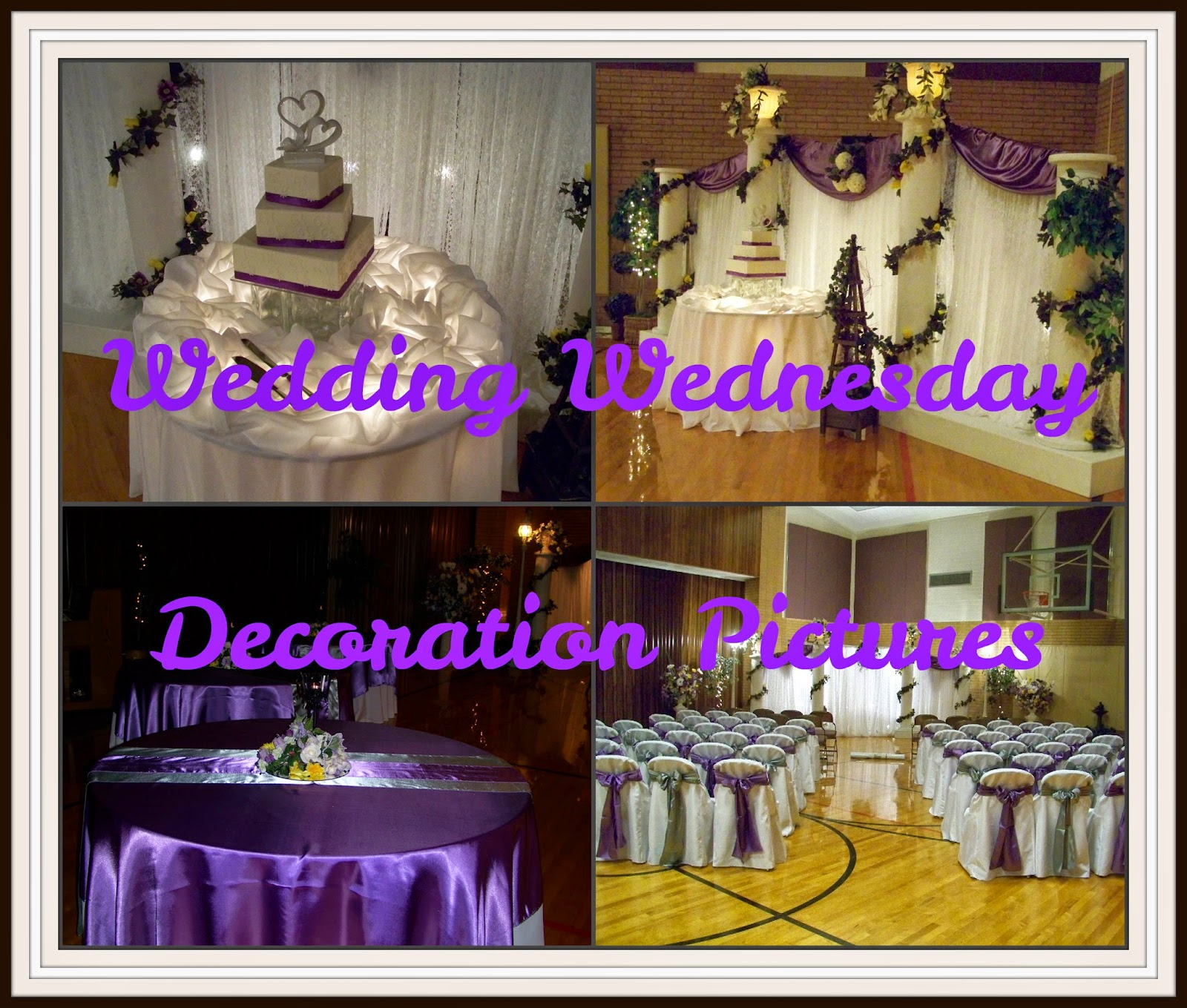 Runaway bridal planner wedding decoration pictures brides colors i decorated for the brides colors were victorian lilac gray with a touch of yellow the wedding ceremony and reception were inside a church gymnasium junglespirit Gallery