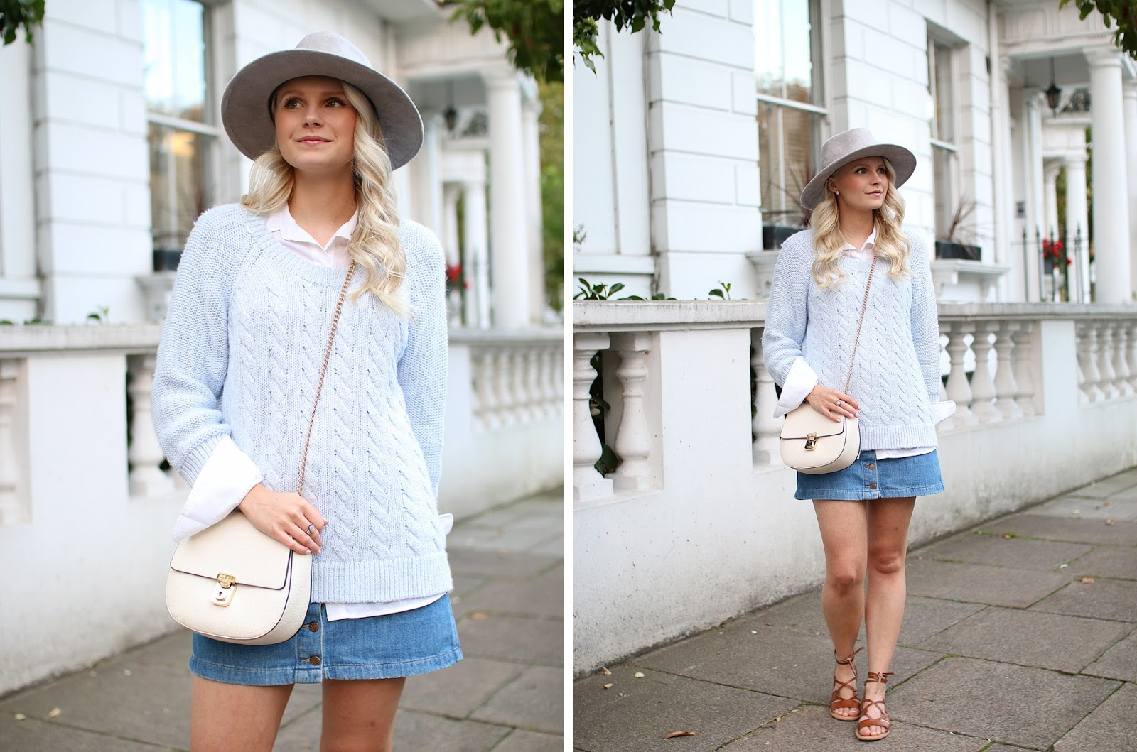a blogger wearing a denim skirt and blue cable knit sweater in london, notting hill