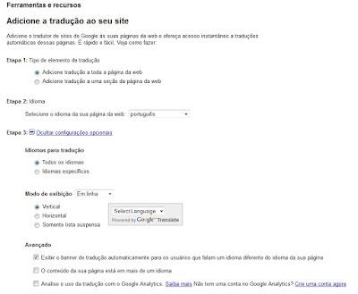 configurações google translate