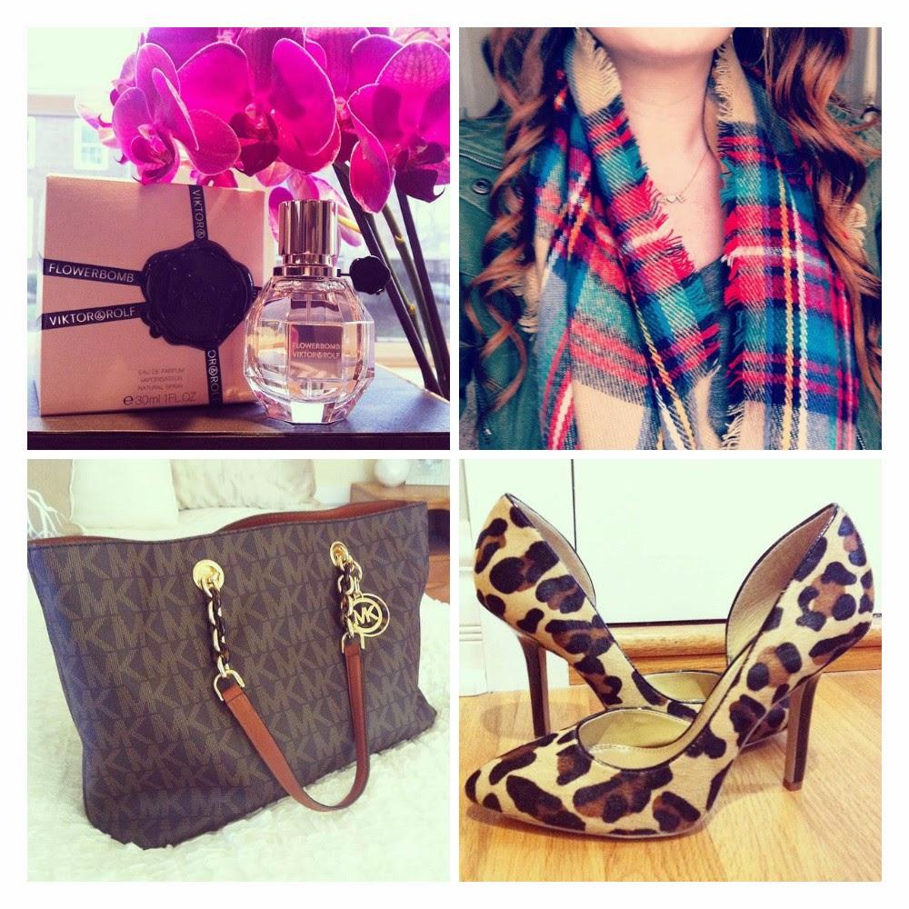 perfume, scarf, purse, heels