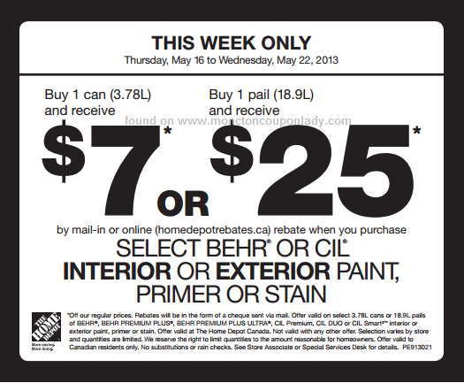 Home Depot Behr Paint Rebate 5 Off 1 Gallon Or 20 Off