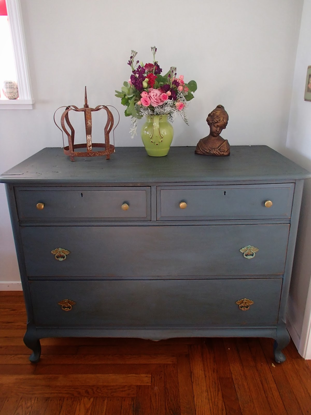 I Next Mixed Up My Home Made Chalk Paint In Carmel Blue And Painted Away The Last Step Was Distress Edges To Dark Wax Piece
