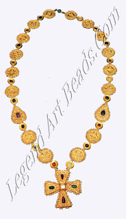 This necklace is of the finest designs in early Byzantine jewelry. The elegance of the overall design, the sumptuousness, the choice of precious materials, and the various decorative techniques employed reflect the primary function of a personal ornament of that period as an expression of personal wealth and status.