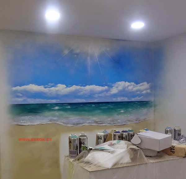 Decoración mural de playa