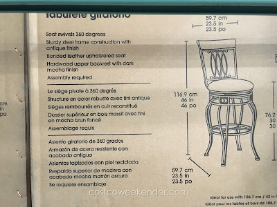 Bayside Furnishings Swivel Bar Stool – Brown cherry finish, steel frame with antique finish