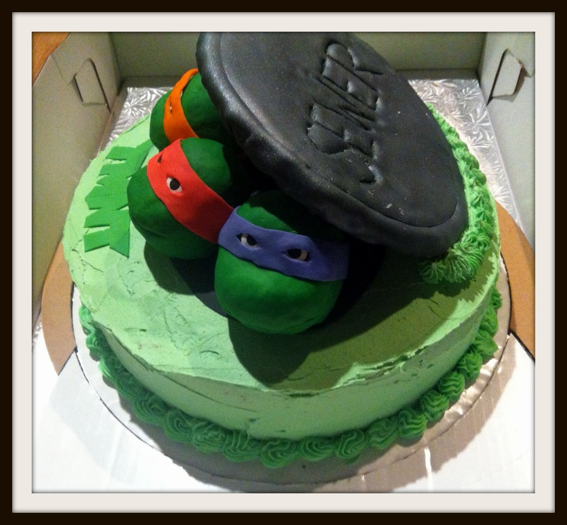 Orange Ninja Turtle Face Cake
