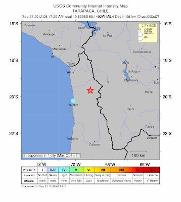 Epicentro sismo 5,4 grados, norte de Chile, 21 de Septiembre 2012