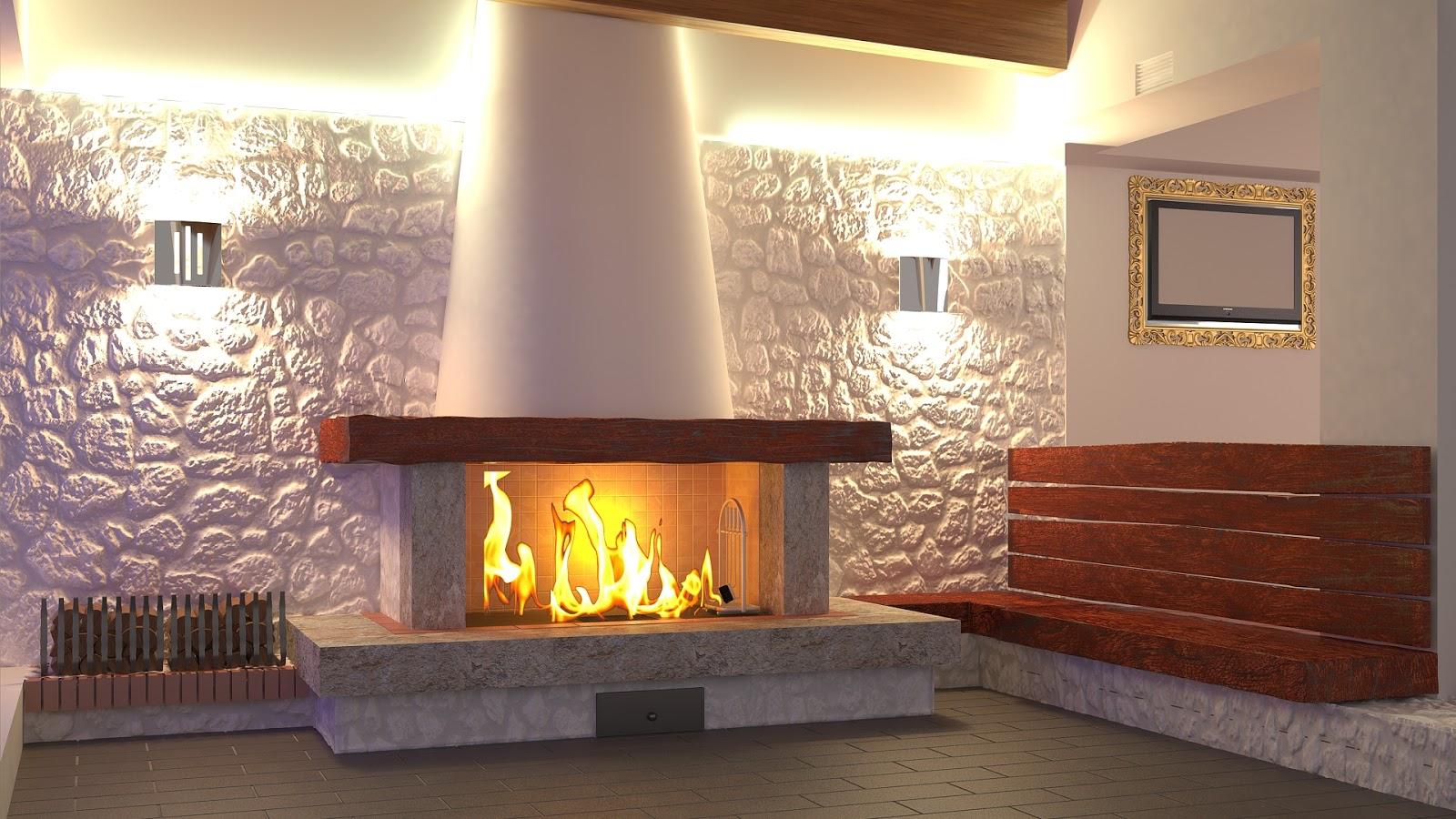 Cg4archviz making of fireplace - Parete di pietra ...