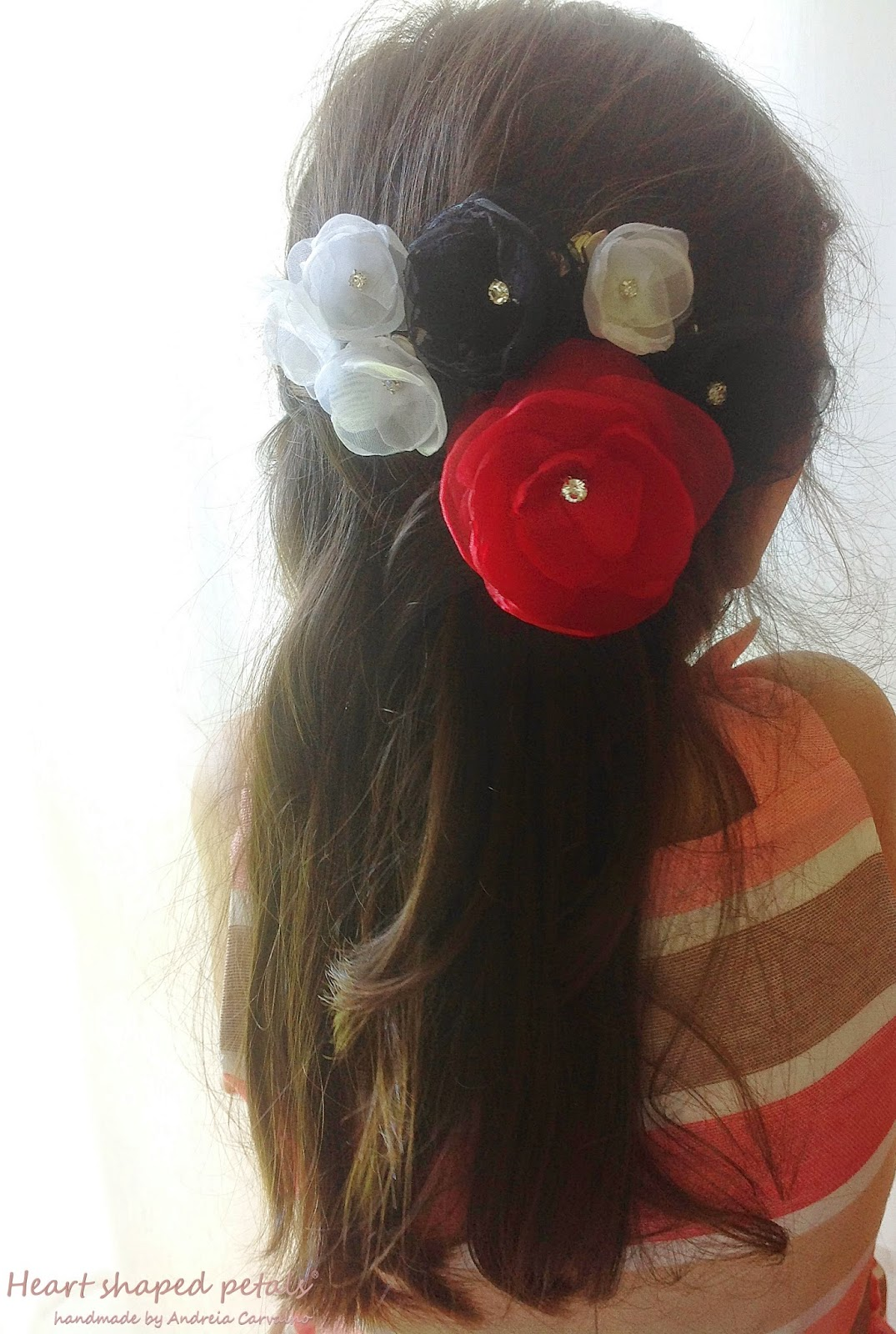 Red flowers bridal hair accessory
