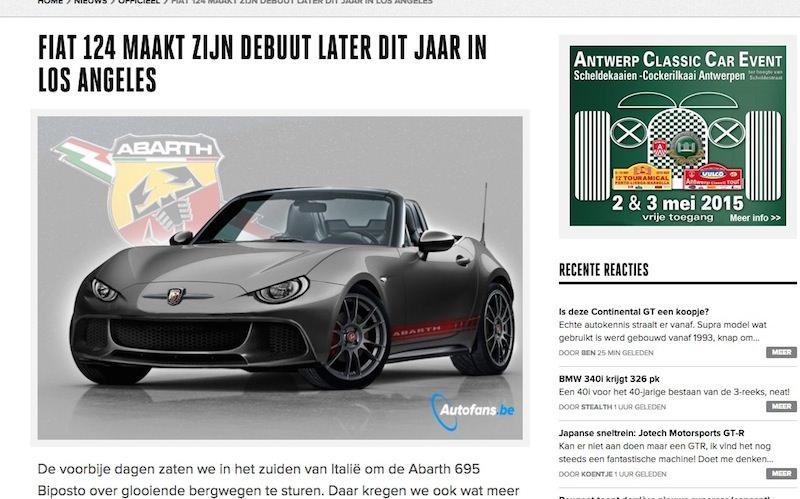 マツダロードスターの兄弟車、フィアット124スパイダーが今年後半にデビュー?