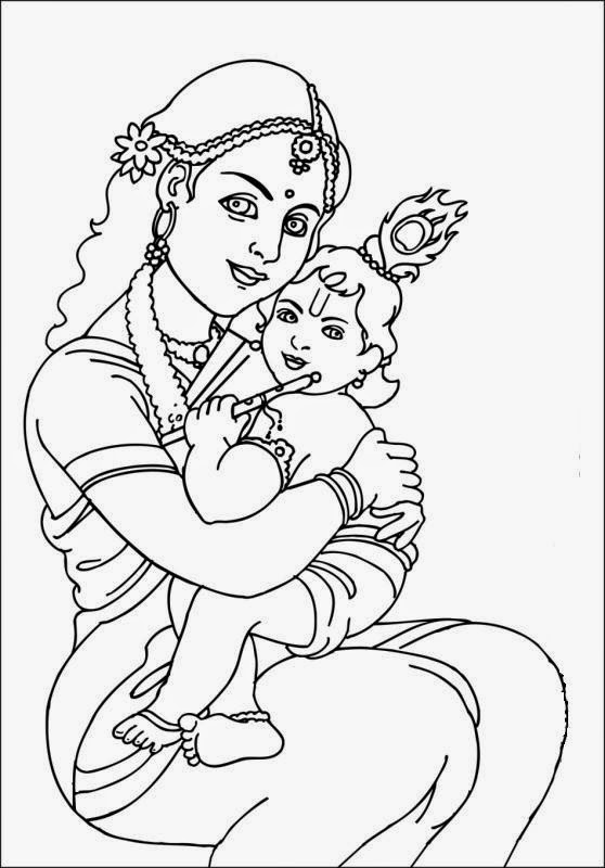 lord baby krishna colour drawing hd wallpaper - Baby Krishna Images Coloring Pages
