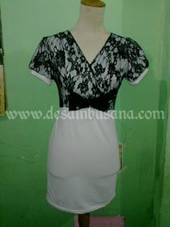 Desain Dress Kombinasi Brokat