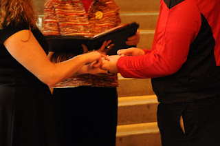 Denise and Phillip practice their ring exchange at their wedding rehearsal.  Patricia Stimac, Seattle Wedding Officiant.
