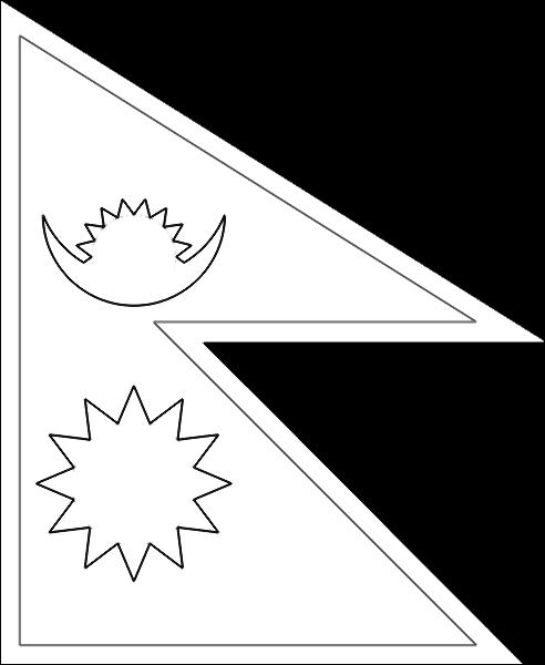 colorear bandera de Nepal para imprimir