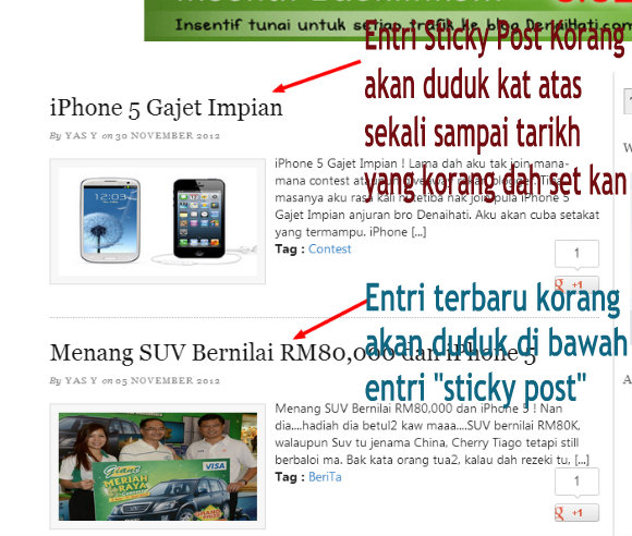 Cara Buat entri Sticky Post Blogspot New Interface