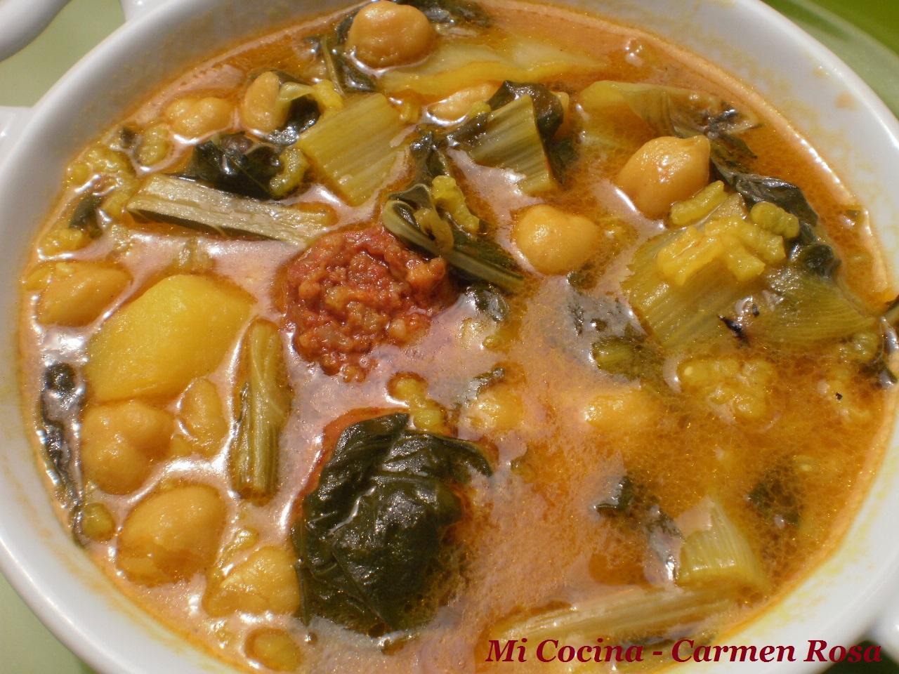 Mi cocina potaje de acelgas con garbanzos y chorizo - Potaje de garbanzos y judias ...