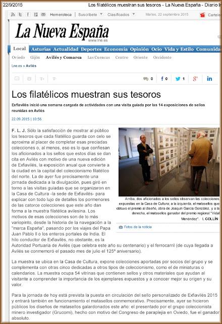 lne.es Avilés, premio Vidal Menéndez, matasellos, exposición