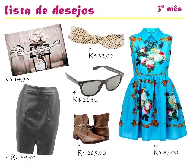 lista de desejos, vestido romwe, óculos bleudame, quadro tok&stok, saia de couro, saia renner, bota khelf