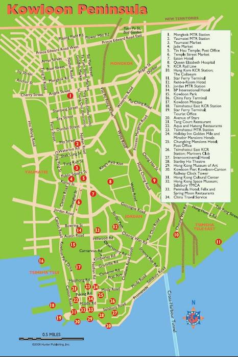 Mapa da península de Kowlon - Hong Kong
