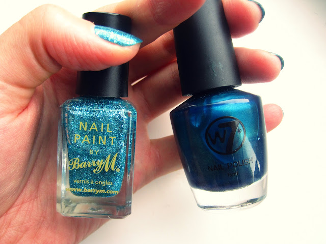 barry m aqua glitter w7 envy mermaid nails nail art nail plish polishes I used